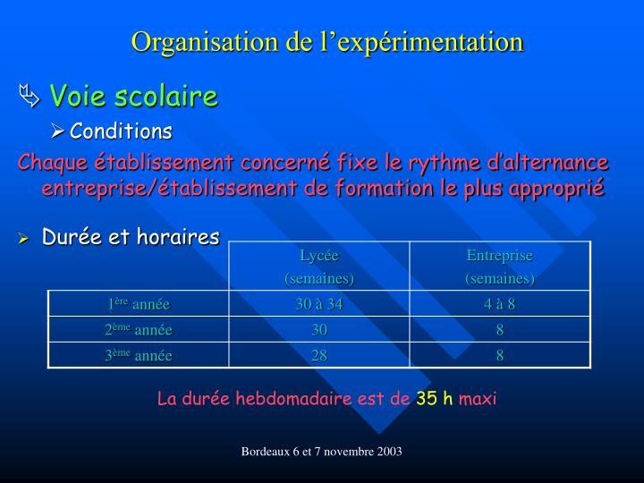 Organisation de l'expérimentation