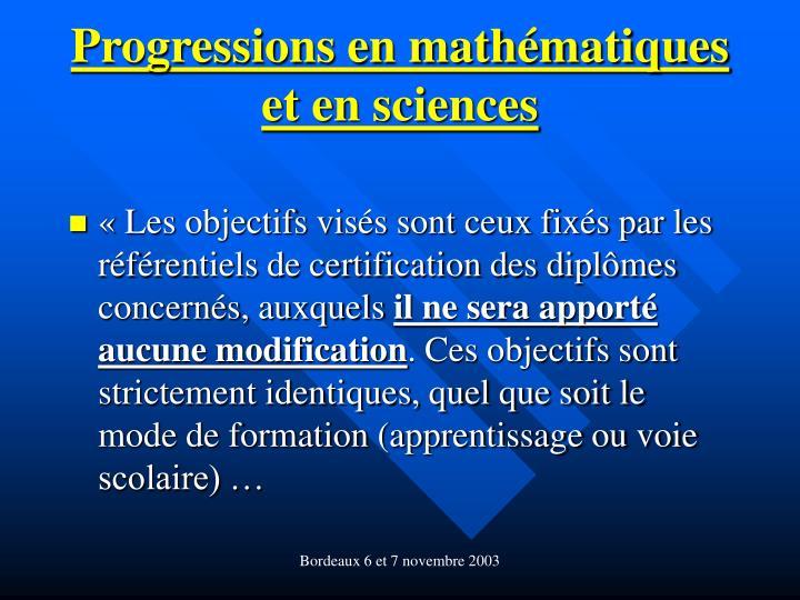 Progressions en mathématiques et en sciences