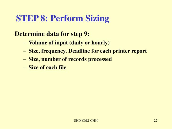 STEP 8: Perform Sizing