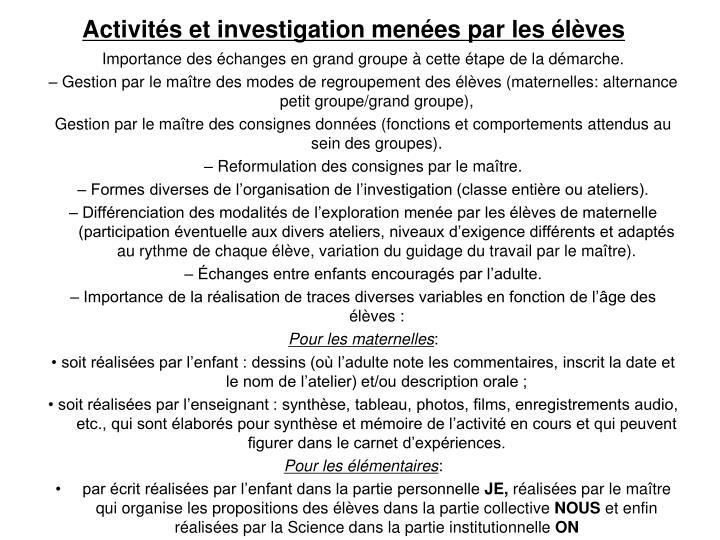 Activités et investigation menées par les élèves