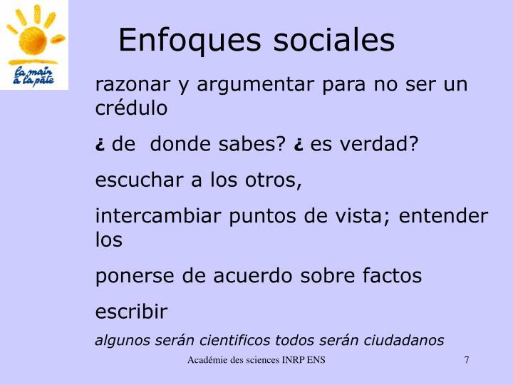 Enfoques sociales