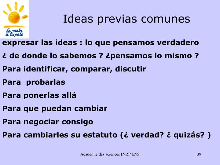 Ideas previas comunes