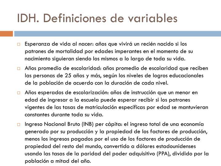 IDH. Definiciones de variables