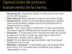 operaciones de proceso tratamiento de la crema