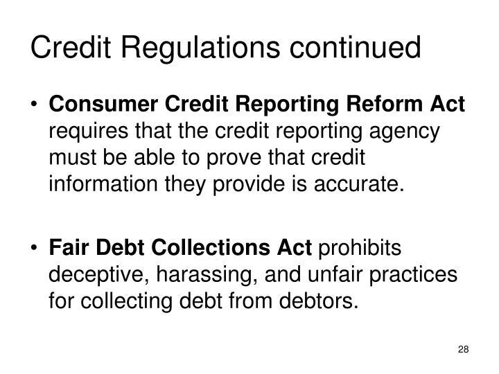 Credit Regulations continued
