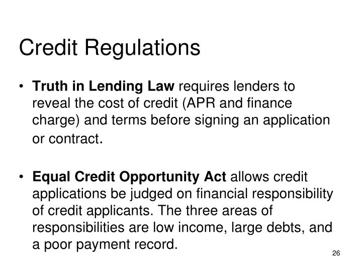 Credit Regulations