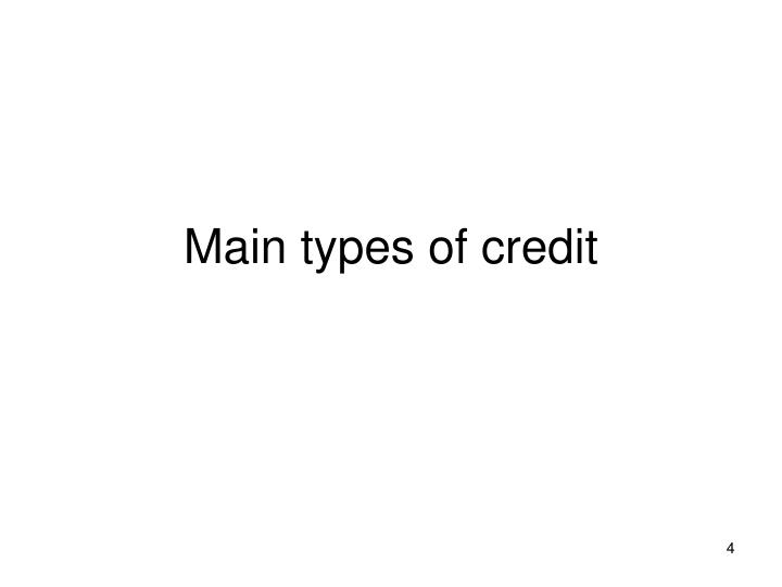 Main types of credit