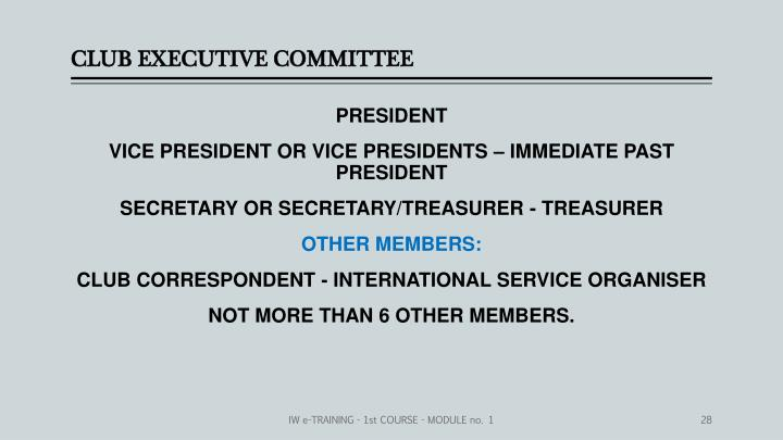 CLUB EXECUTIVE COMMITTEE