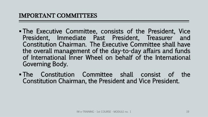 IMPORTANT COMMITTEES