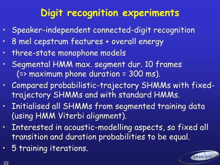 Digit recognition experiments