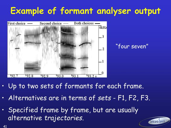 Example of formant analyser output