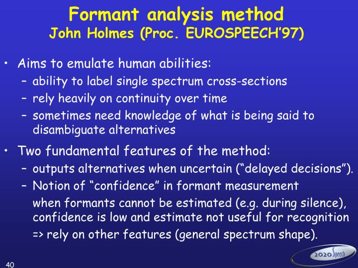 Formant analysis method