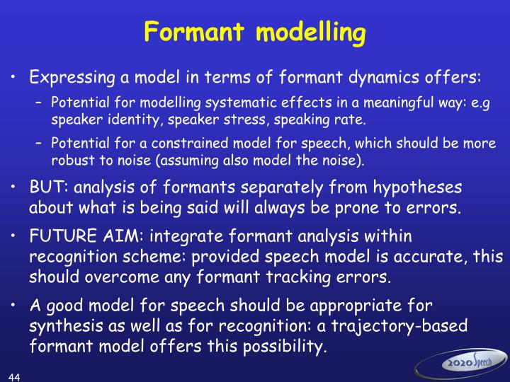 Formant modelling