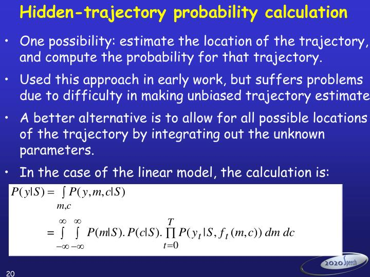 Hidden-trajectory probability calculation