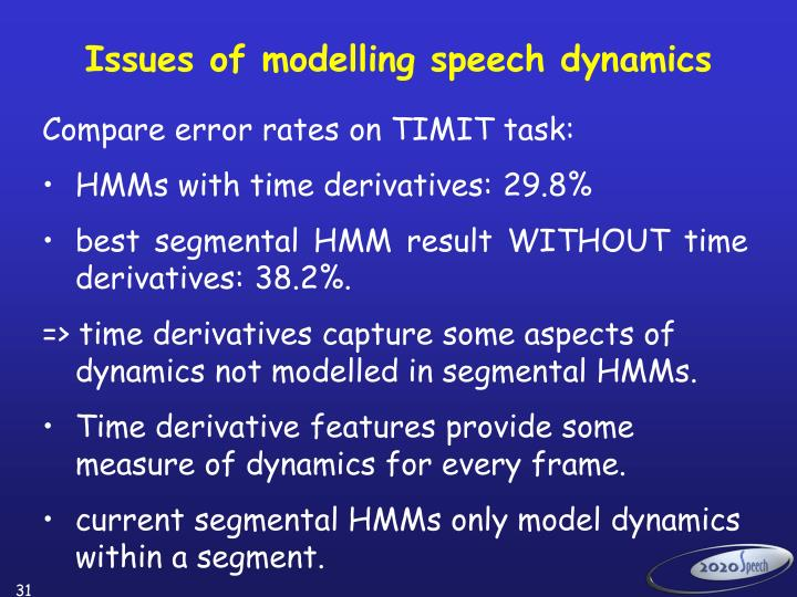 Issues of modelling speech dynamics