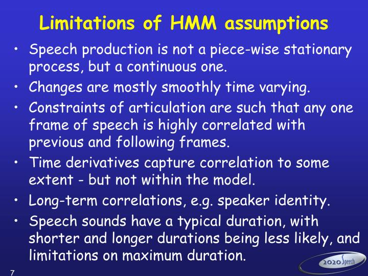 Limitations of HMM assumptions