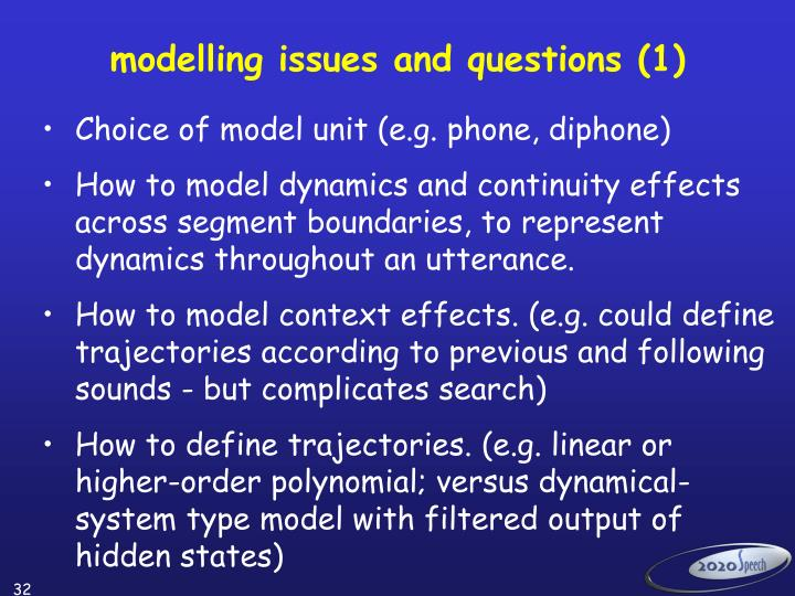 modelling issues and questions (1)