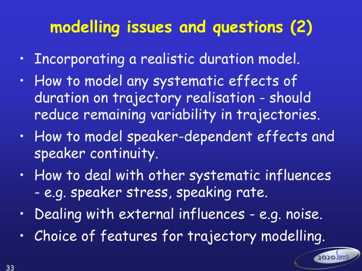 modelling issues and questions (2)
