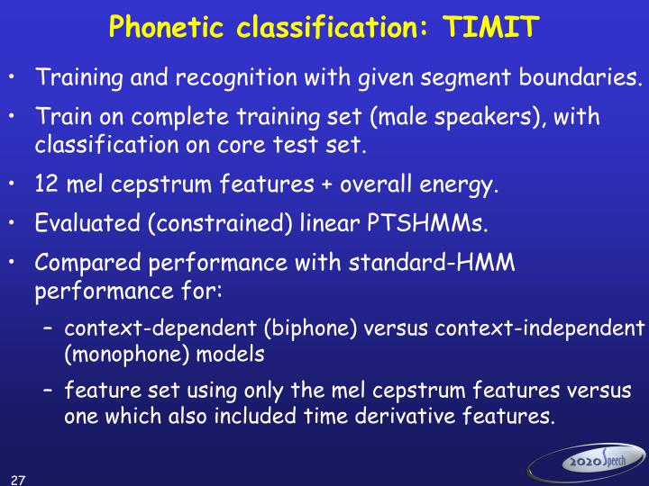 Phonetic classification: TIMIT