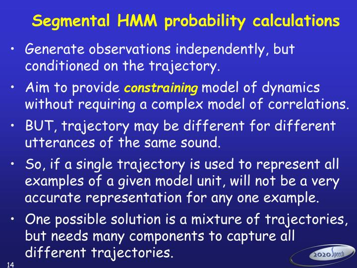 Segmental HMM probability calculations