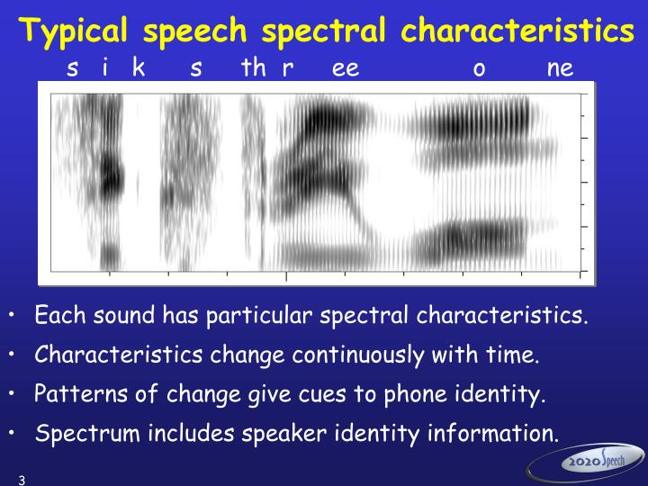 Typical speech spectral characteristics