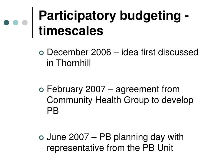 Participatory budgeting - timescales