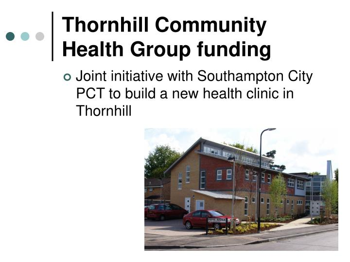 Thornhill community health group funding