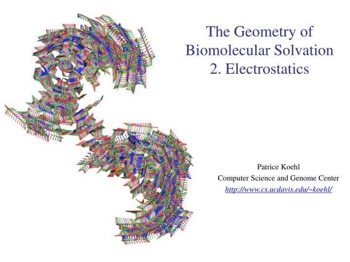 The geometry of biomolecular solvation 2 electrostatics