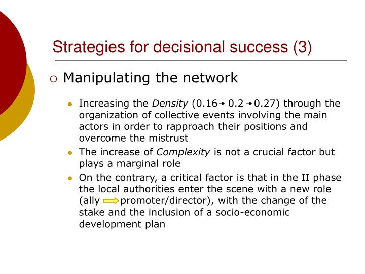 Strategies for decisional success (3)