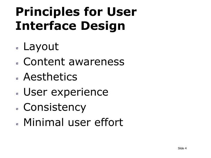 Principles for User Interface Design