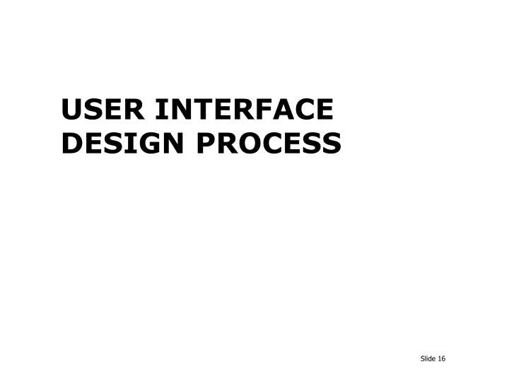 USER INTERFACE DESIGN PROCESS