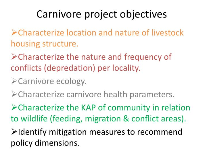 Carnivore project objectives