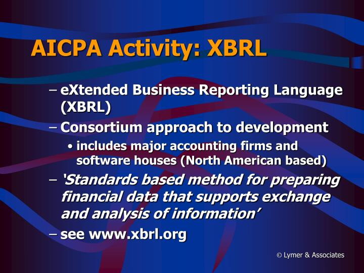 AICPA Activity: XBRL