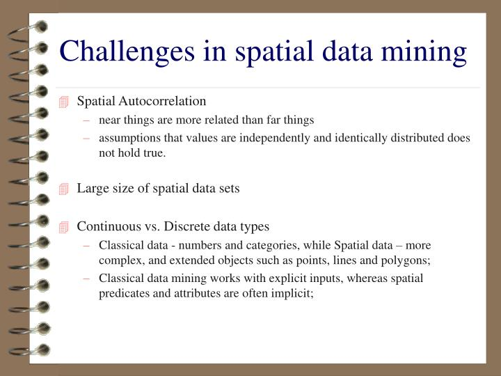 Challenges in spatial data mining
