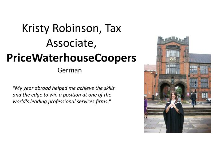 Kristy robinson tax associate pricewaterhousecoopers