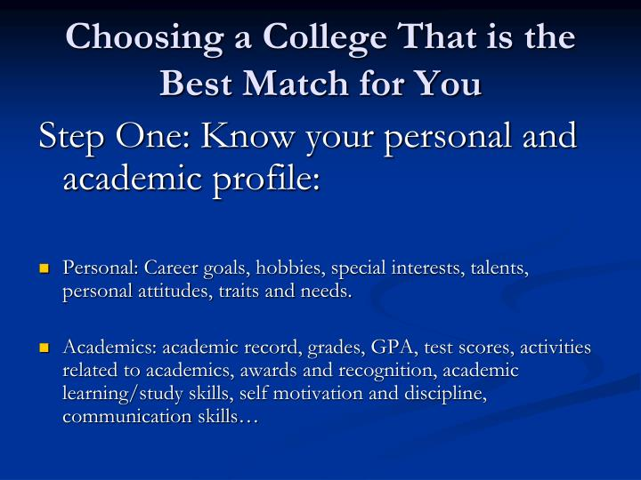 Choosing a College That is the Best Match for You