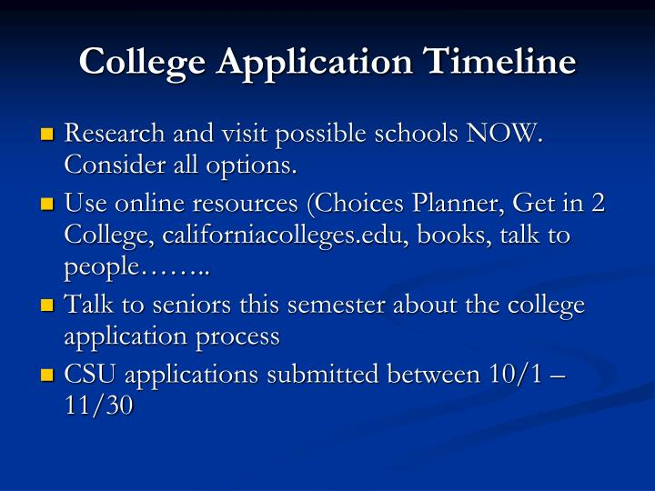 College Application Timeline