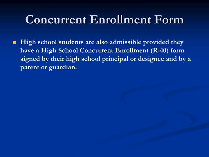 Concurrent Enrollment Form