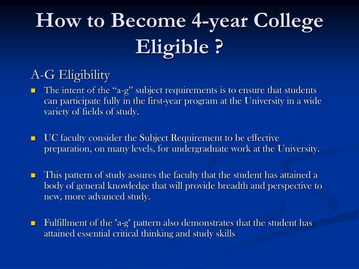 A-G Eligibility