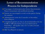 letter of recommendation process for independents1