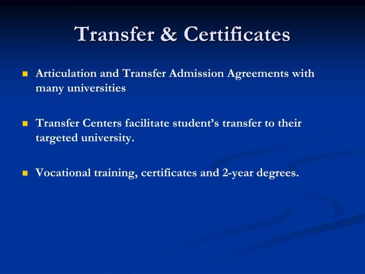 Transfer & Certificates