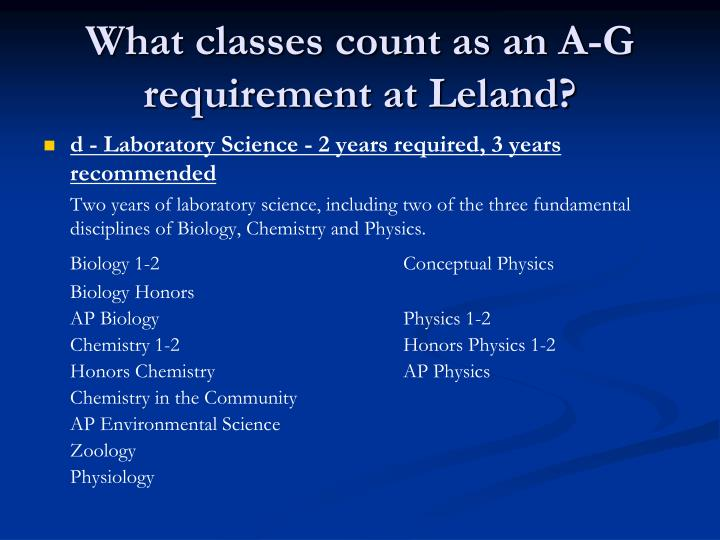 What classes count as an A-G requirement at Leland?