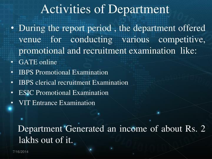 Activities of Department