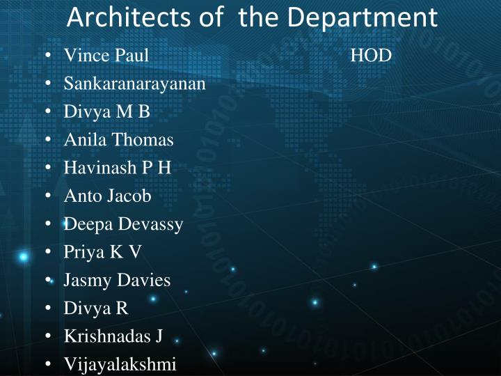 Architects of the department