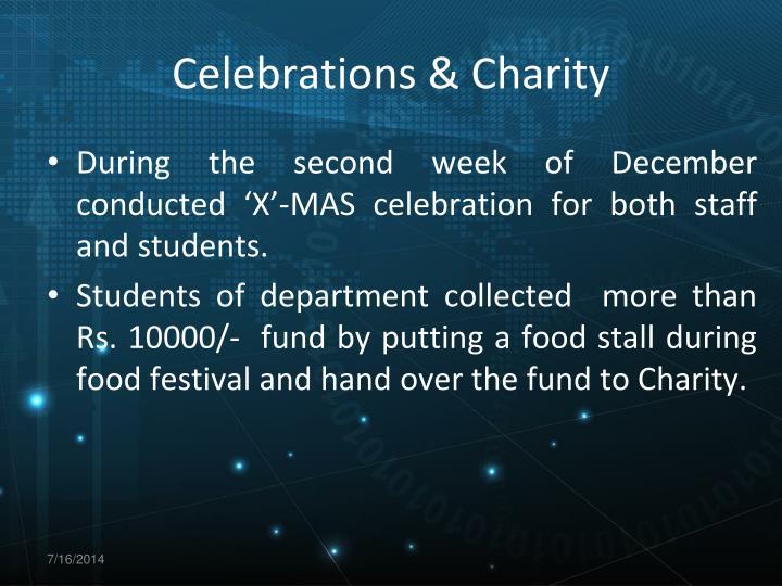 Celebrations & Charity