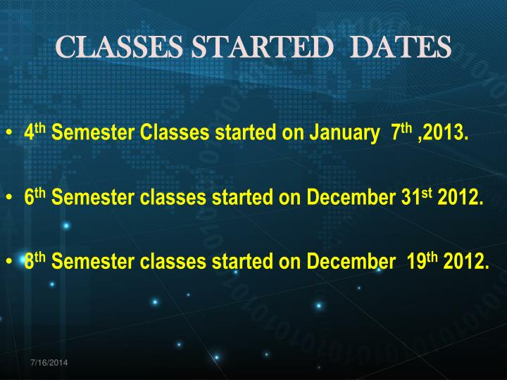 CLASSES STARTED  DATES
