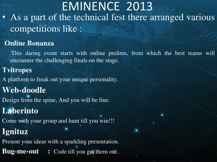 EMINENCE  2013