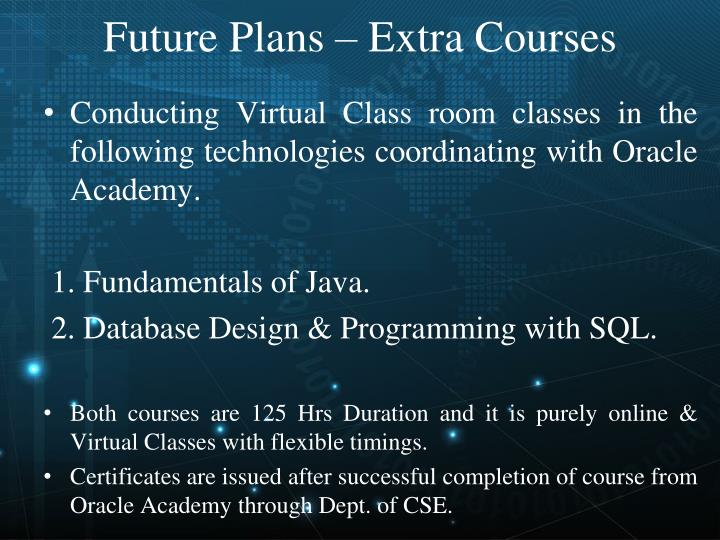 Future Plans – Extra Courses