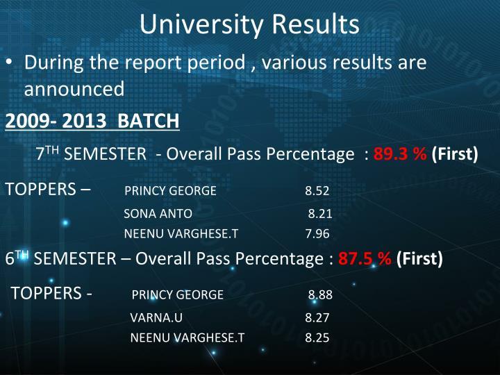 University Results