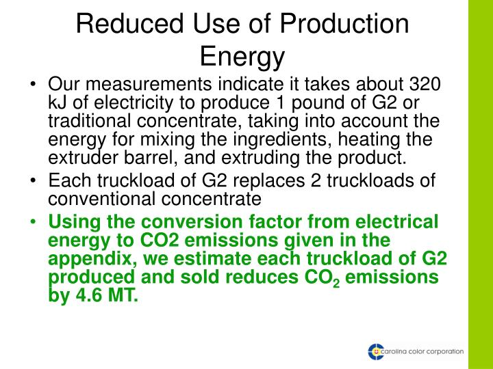 Reduced Use of Production Energy